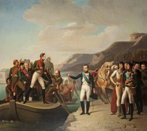 Anoniem, Frankrijk, naar Gioacchino Giuseppe Serangeli, Napoleon en Alexander I gaan uit elkaar in Tilsit in 1807, ca. 1810. Olieverf op doek © State Hermitage Museum, St Petersburg.
