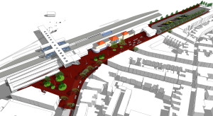 Vernieuwing stationsgebied met rechts compact busstation. Tekening: gemeente Alkmaar.