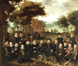 Officieren van de Oude Schutterij in een landschap (1616) met Van der Heck en zijn vrouw in het midden.