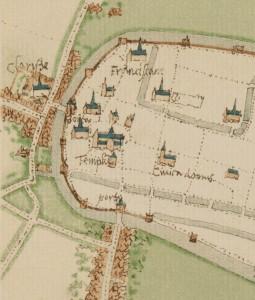Een kaartje van de Molenbuurt met het klooster (links).